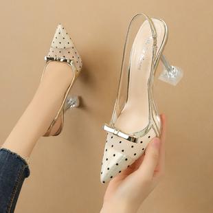 凉鞋2020年新款女水晶波点网纱高跟鞋细跟蝴蝶结中跟后空尖头单鞋图片