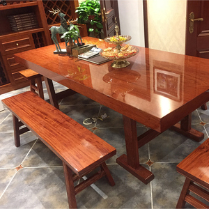 Bahua Okan solid wood slab tea table log boss table president conference desk new Chinese rosewood furniture