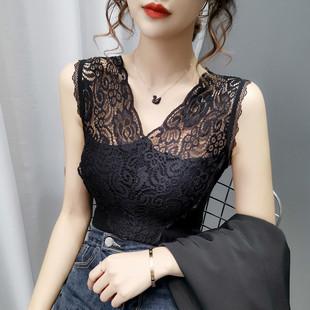 黑白色蕾丝背心春夏女装针织无袖内穿打底衫吊带内搭外穿性感上衣图片