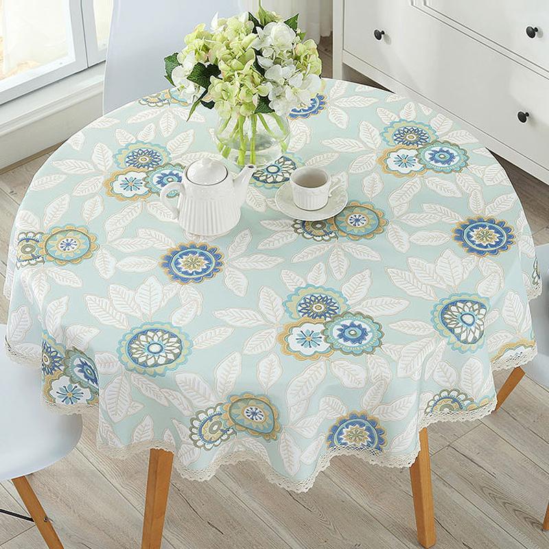 大圆形餐桌垫小圆桌桌布布艺防水防烫防油免洗棉麻小清新简约台布