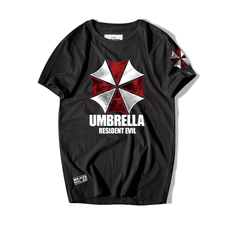 生化危机短袖T恤 保护伞印花夏天纯棉圆领电影周边宽松潮衣服半袖