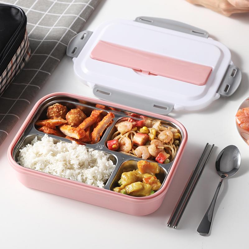 304不锈钢饭盒便当成人小学生带盖食堂超长分格保温日式简约餐盒
