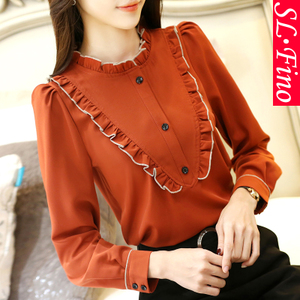 2019 Spring and Autumn New Women Ladies Fungus Lace Collar Long Sleeve Chiffon Shirt Korean Loose Shirt Blouse
