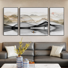 New Chinese style living room decoration painting Fengshui relies on the mountain to attract wealth