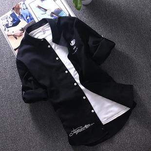 短袖衬衫男士夏季韩版修身潮流帅气休闲五分中袖白衬衣七分袖寸衫