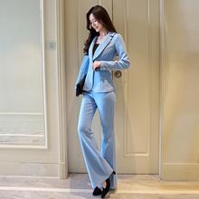 2021秋季新款ol职xi8女裤套装en装外套微喇长裤(小)清新两件套
