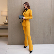 职业装女裤套装ec4021秋o3瘦时尚(小)西装外套微喇长裤两件套女