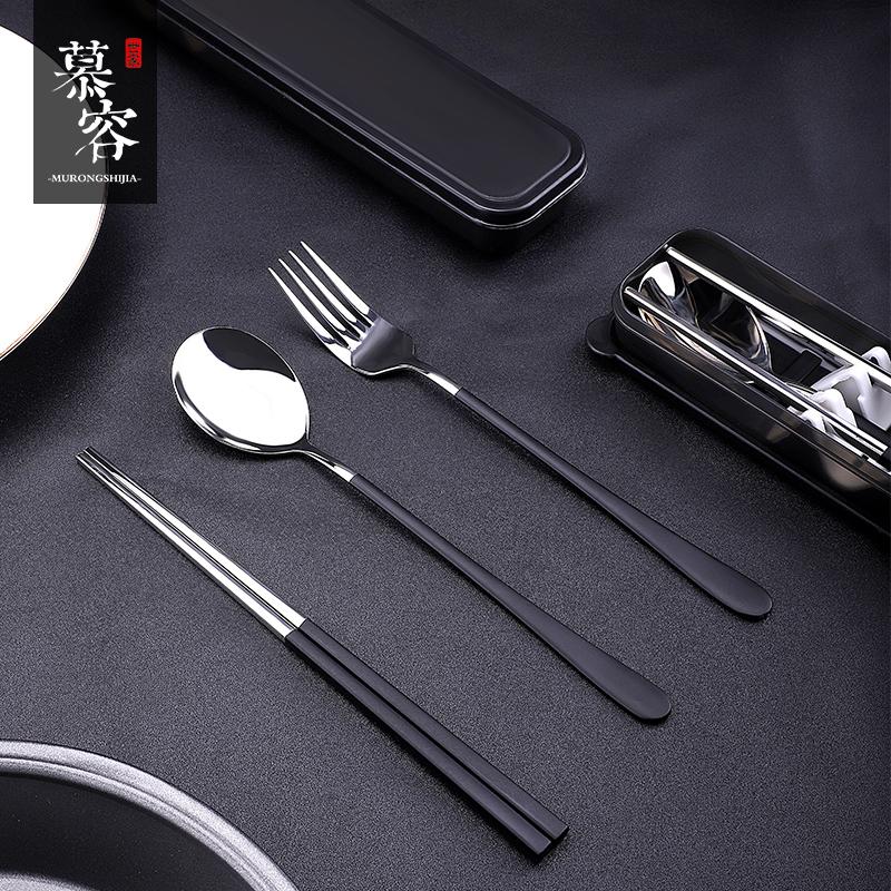 304不锈钢筷子勺子套装学生叉子携家用便携收纳式儿童餐具三件套