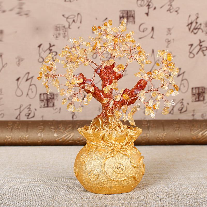 嘉厚采天然黄水晶招财树摆件家居客厅开业礼品发财树办公室工艺品