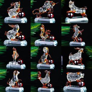 水晶十二12生肖鼠牛虎兔龙蛇马羊猴鸡狗猪车内装饰品汽车创意摆件