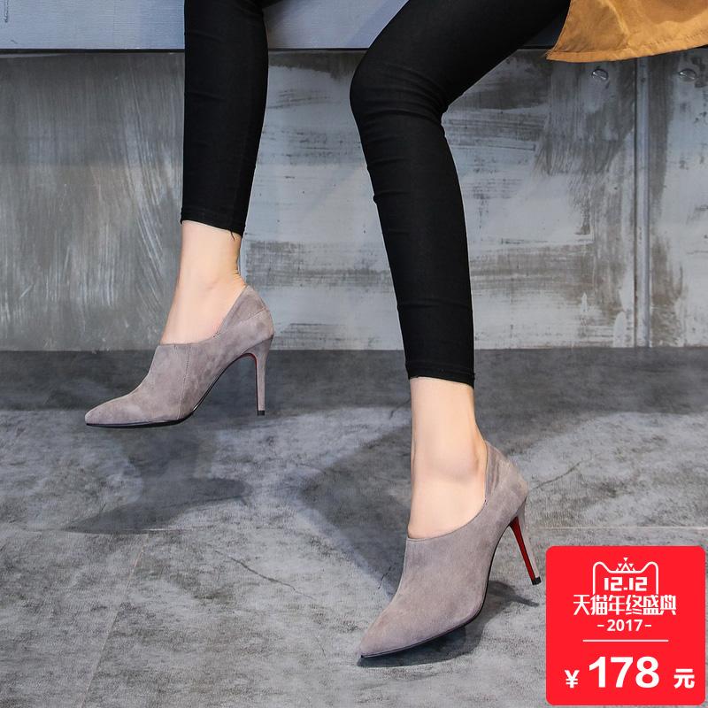 2017春秋季新款高跟鞋深口单鞋女尖头皮鞋时尚细跟女士真皮女鞋