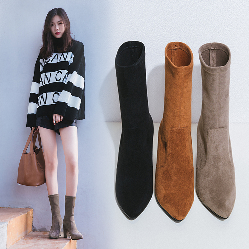 2017新款尖头马丁靴袜子靴高跟鞋秋冬女鞋子弹力靴百搭粗跟小短靴