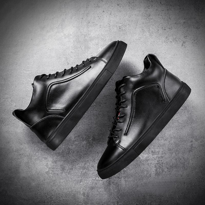 冬季男鞋高帮鞋男韩版潮流板鞋加绒保暖棉鞋男士百搭鞋子休闲皮鞋