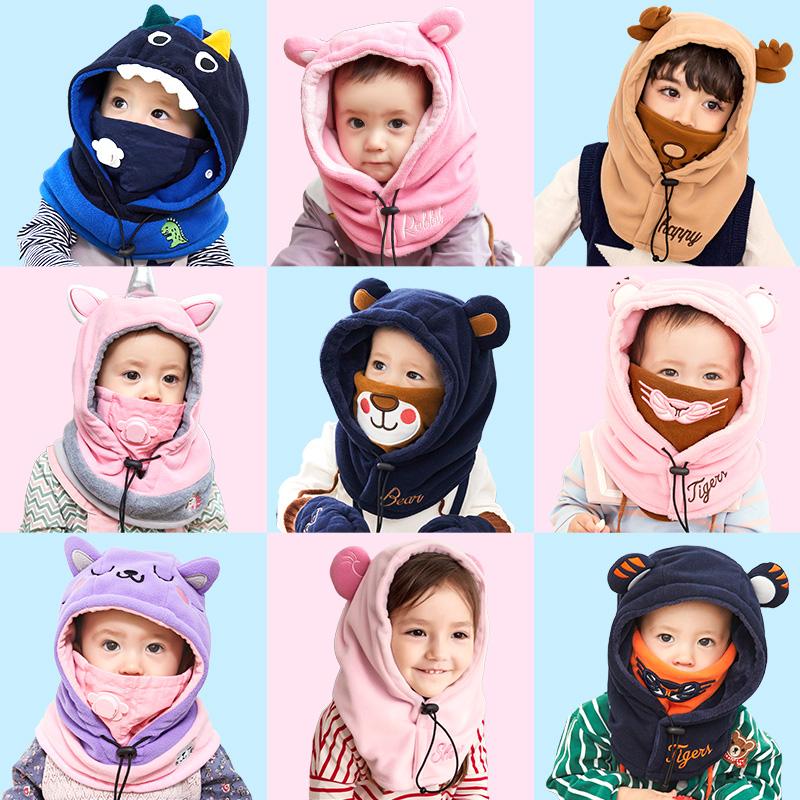 儿童帽子秋冬季男童女童围脖护耳一体防风围巾宝宝婴儿加绒帽男潮