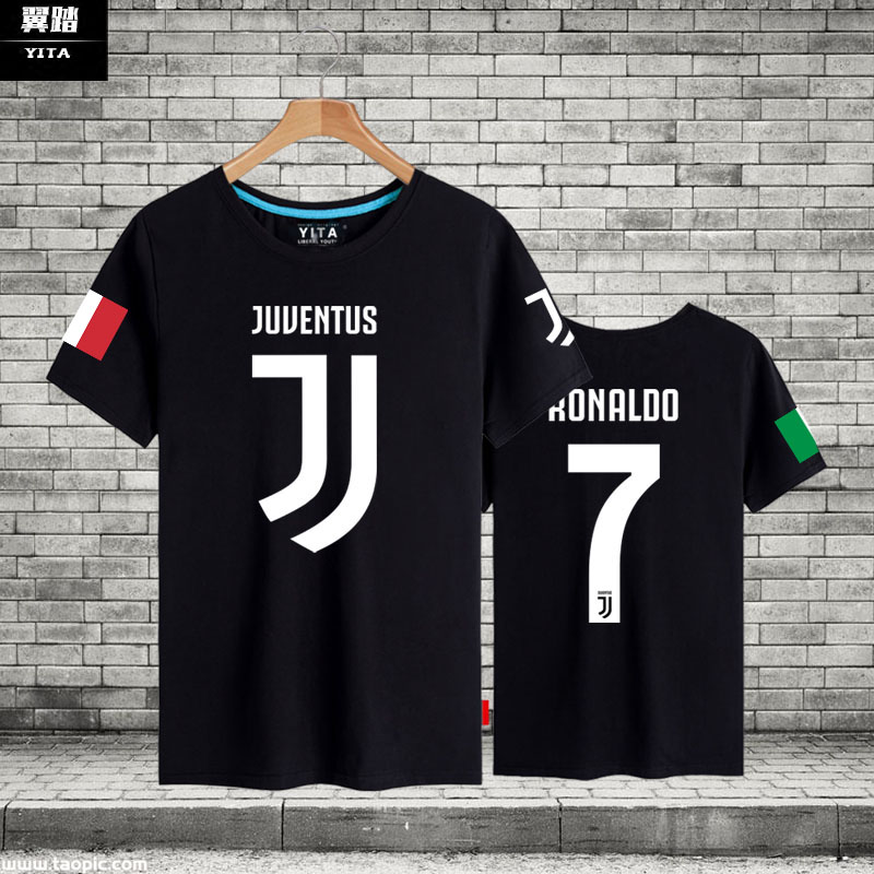 尤文图斯C罗纳尔多队服短袖T恤衫男女足球运动休闲球迷半袖球衣服