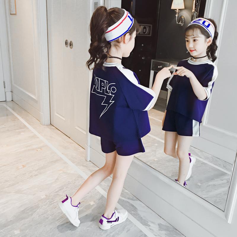 女童夏装套装2019新款韩版潮中大童时尚夏季运动女孩两件套超洋气
