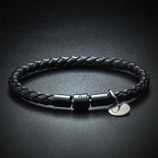 意大利5mm进口编织皮绳手链男 韩版黑色手绳情侣手环潮流饰品礼物图片