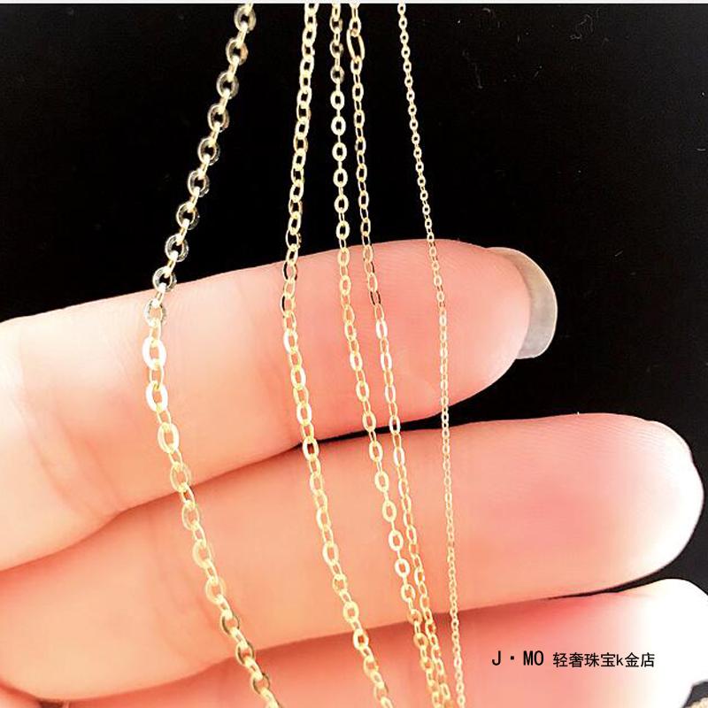 韩国纯14k金黄金项链 百搭简约O型素链裸链毛衣链锁骨链k纯金项链