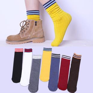 棉诱盒装袜子女中筒袜韩版学院风个性复古棉堆堆袜2019春新款百搭