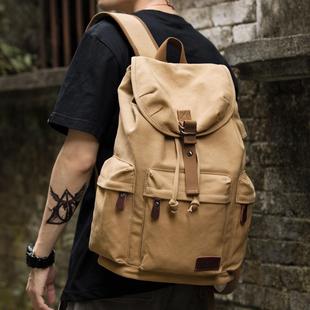 复古男士帆布双肩包高中大学生书包潮流休闲大容量旅行包背包男包图片