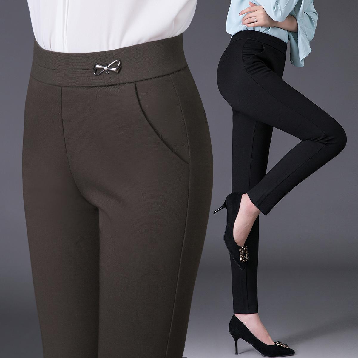 秋季厚款中年女裤高弹力紧身长裤子秋天加大加肥打底裤外穿妈妈装