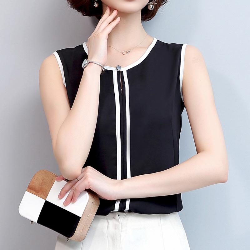 无袖雪纺衫女夏2019新款韩版黑色衬衫显瘦百搭上衣v领打底衬衣潮