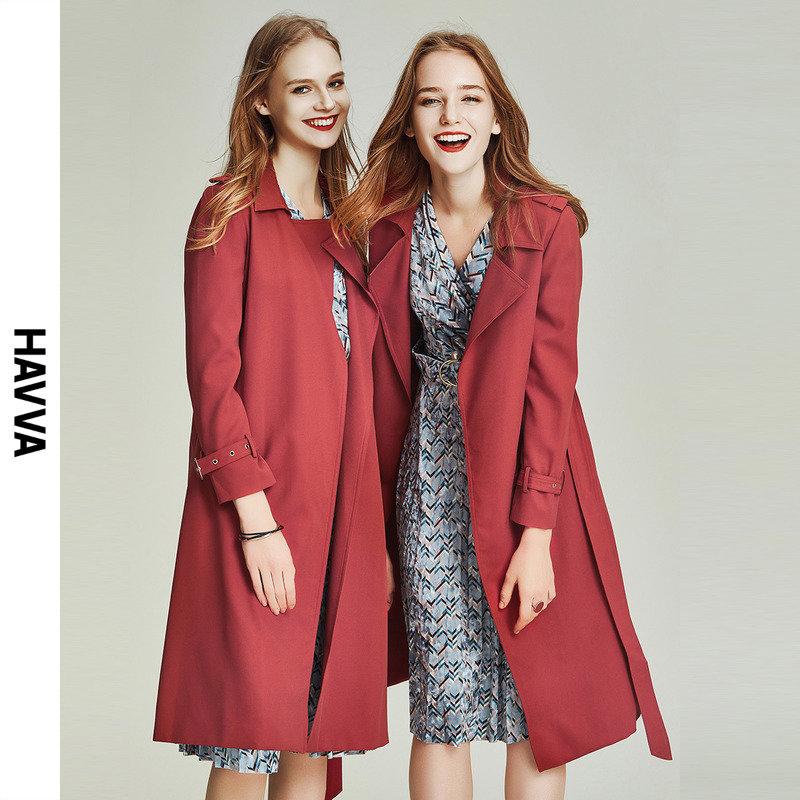 HAVVA春秋风衣女中长款休闲时尚新款红色女士过膝外套潮F3001
