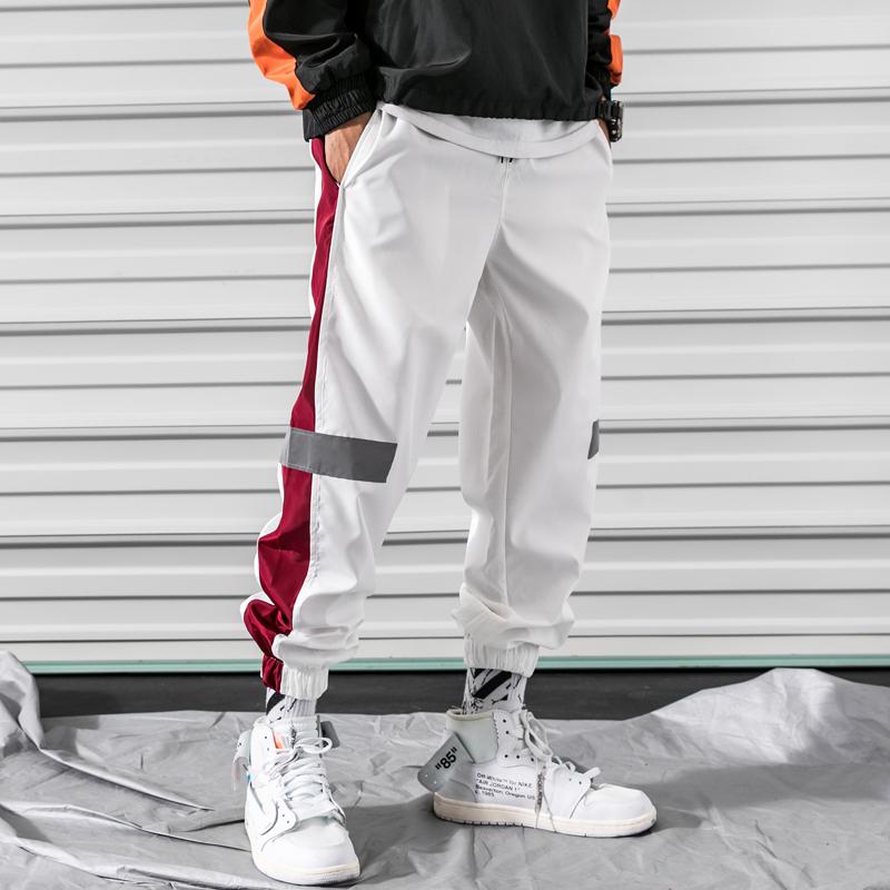冬季运动裤男士裤子韩版潮流反光条束脚裤休闲裤学生大码卫裤长裤