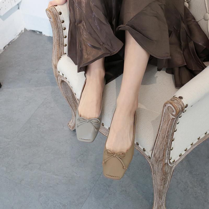 CAILIN自制韩版方头蝴蝶结马克线浅口软皮平底光面柔软舒服单鞋女