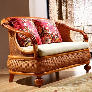 Living room rattan coffee table five-piece rattan chair sofa combination residential furniture leisure bamboo Teng sofa plant real rattan