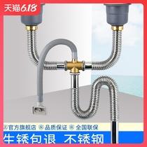 廚房洗菜盆下水管水槽下水器雙槽洗碗池水池排水管防臭不鏽鋼配件