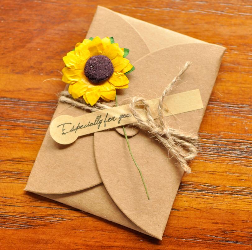 12张DIY复古创意手工感恩节干花贺卡信封牛皮纸贺卡生日邀请卡