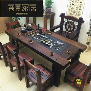 Old boat wood tea table and chair combination Chinese solid wood furniture Kung Fu tea table coffee table balcony simple office tea table