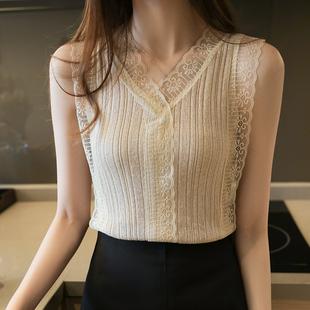 吊带背心女简约外穿潮针织新款西装内搭蕾丝秋季打底衫设计感小众图片