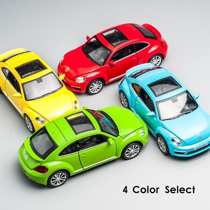 正版授权大众甲壳虫汽车模型摆件原厂儿童玩具车回力仿真合金汽车