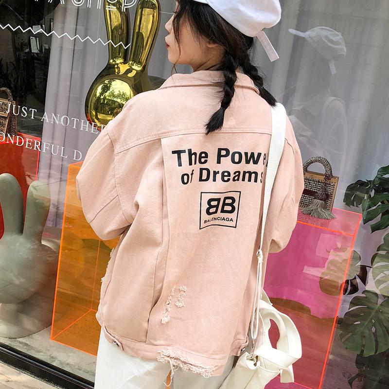 糖果色工装外套女学生中长款秋季宽松BF2018新款韩版牛仔夹克上衣