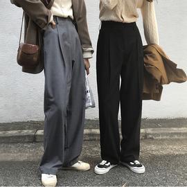 秋冬垂感灰色阔腿裤女显瘦大码高腰拖地裤宽松休闲西装裤直筒长裤