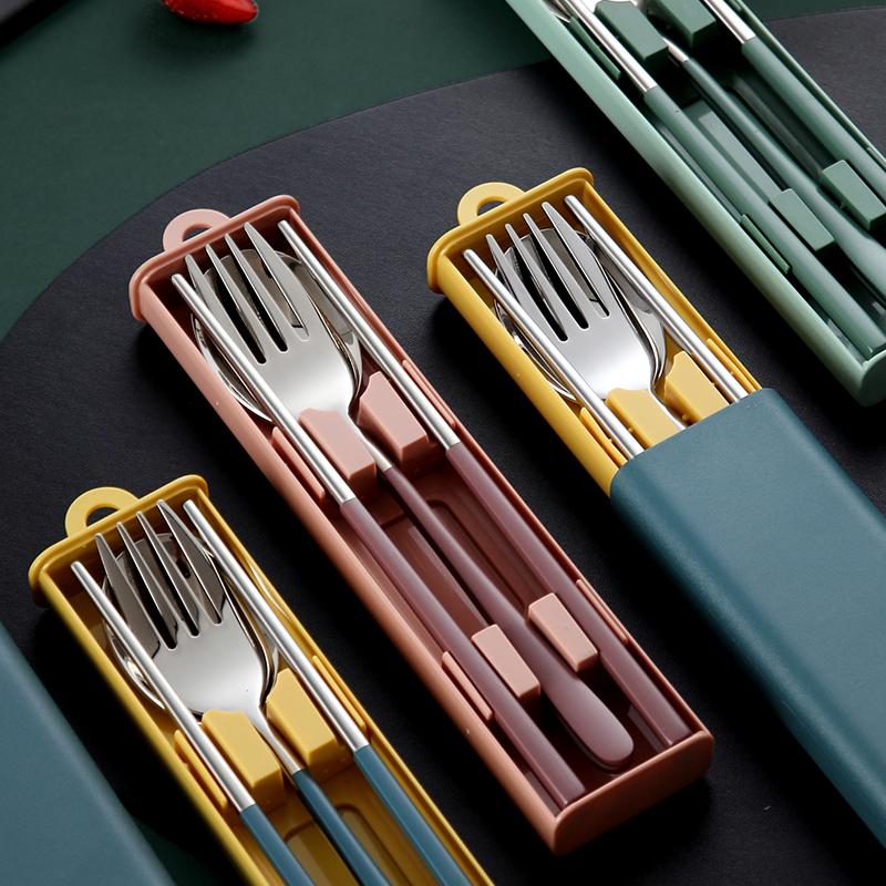 便携筷子勺子单人套装一人用餐具三件套不锈钢叉子学生可爱收纳盒