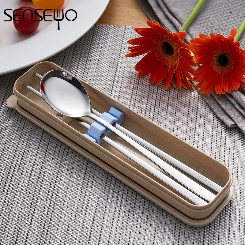 304不锈钢便携餐 具韩国实心扁筷勺套装筷子勺子叉子三件套餐具盒