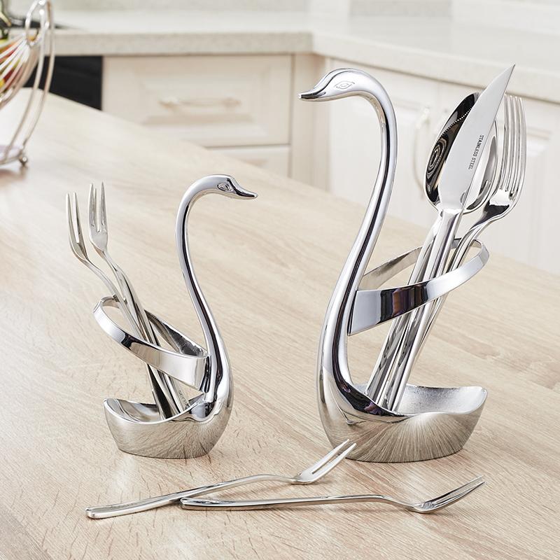 大号创意天鹅座不锈钢水果叉 刀叉底座 西餐具咖啡勺子筷子收纳架