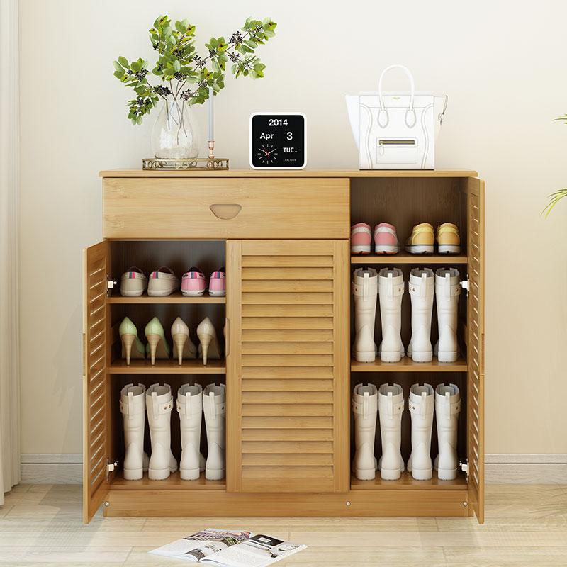 楠竹鞋架简易多层家用单个性实木多功能收纳门口创意时尚高档鞋柜