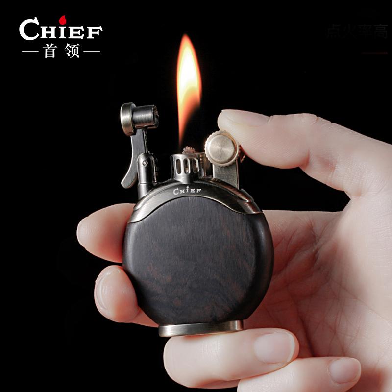 CHIEF首领檀木煤油打火机防风老式复古砂轮点烟器国产创意个性男