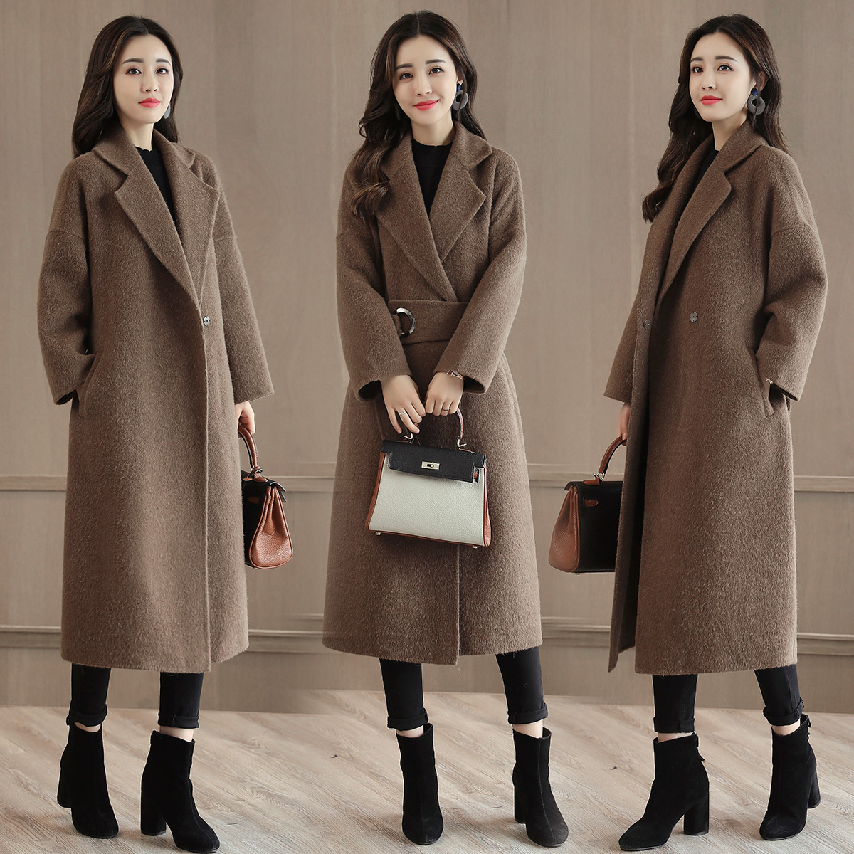 呢大衣女中长款过膝韩版2017秋冬季新款妮子修身显瘦韩国毛呢外套