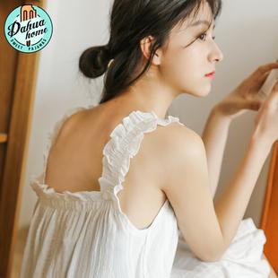 夏季公主风纯棉吊带睡裙女夏天韩版小清新性感睡衣宽松薄款无袖