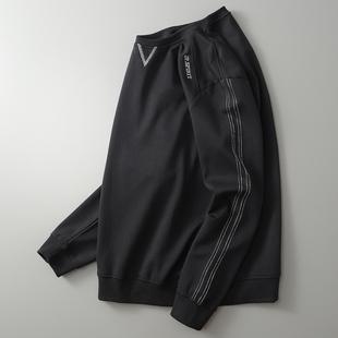 春秋新款长袖T恤男吉普盾纯色圆领男士卫衣简约潮流打底衫男装潮