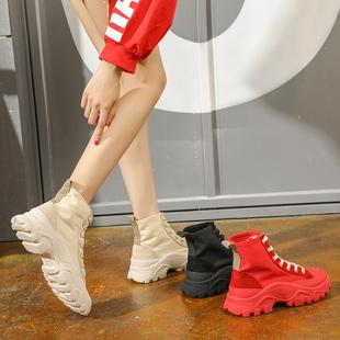 嘻哈帆布鞋女潮2018新款百搭韩版空军一号学生街舞aj高帮运动鞋女