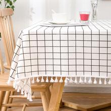 简约ins风桌布棉麻格子餐桌bo11几垫盖ne式系床头柜长方形