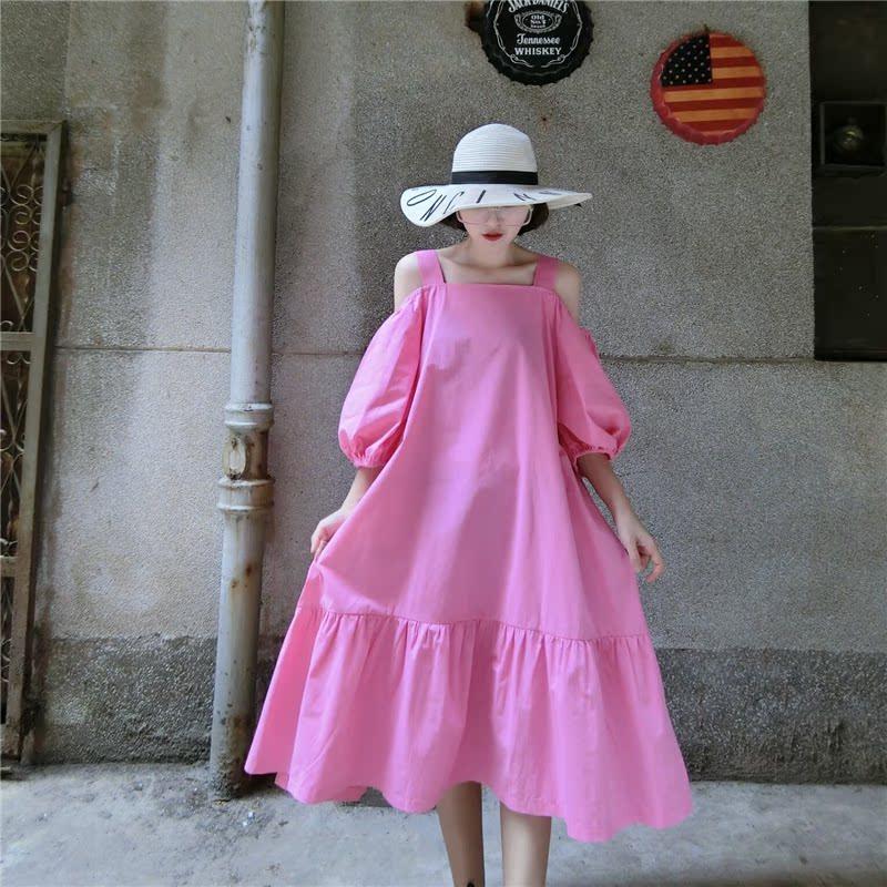 韩版气质露肩吊带一字领灯笼袖宽松显瘦粉色中长拼接荷叶边连衣裙