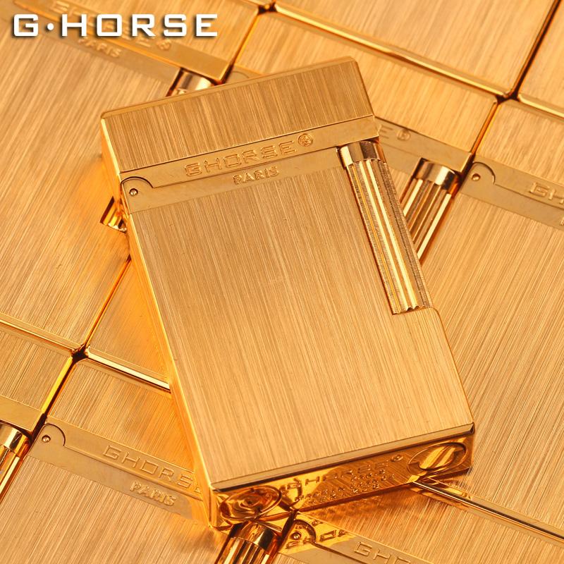 法国ghorse正品男士朗声打火机定制防风充气复古超薄个性纯铜砂轮