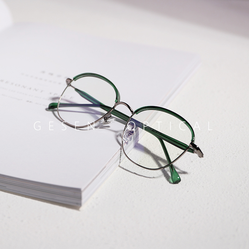 眼镜框可配镜片 近视配眼镜近视女镜架男复古文艺半框绿色椭圆形